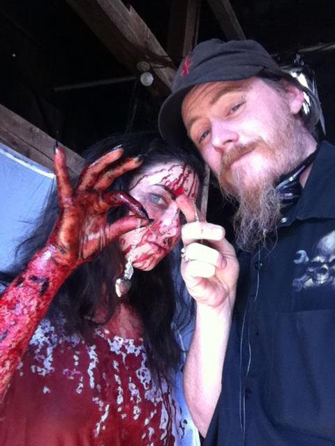 Ryan M. Andrews on the set of SAVE YOURSELF with actress, Tristan Risk.